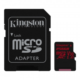 Card de memorie micro SDXC 256GB + adaptor SD Canvas React, Kingston SDCR/256GB