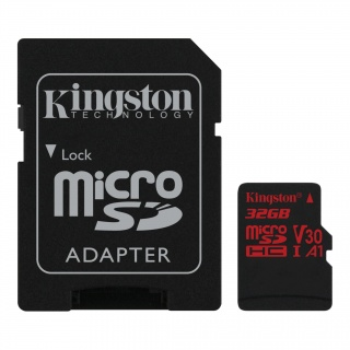 Card de memorie micro SDHC 32GB + adaptor SD Canvas React, Kingston SDCR/32GB