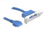 Bracket USB 3.0 2 porturi low profile, Delock 82976