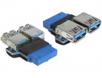 Adaptor USB 3.0 pin header M la 2 x USB 3.0 M, Delock 65324