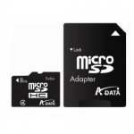 Card memorie micro SDHC 8GB ADATA, adaptor SD, class 4