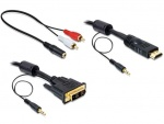 Cablu HDMI la DVI-D Single Link 18+1pini T-T, audio, 3m, Delock 84456