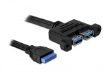 Cablu intern USB 3.0 pin header la 2 x USB 3.0, Delock 82941